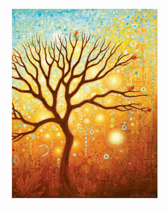 Tree Art Print from an original painting by Jennifer Barrineau orange, yellow tones Wall Art