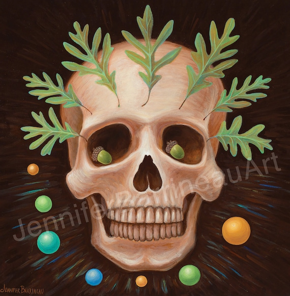Skull with Oak Leaves Original Art Painting by Jennifer Barrineau titled Sir Chuffrey