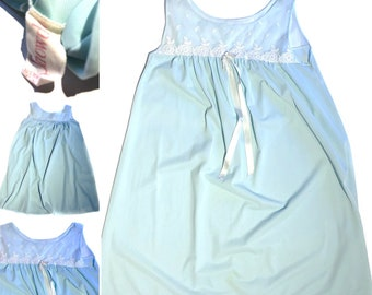 Vintage Nightgown Powder Blue And Lace