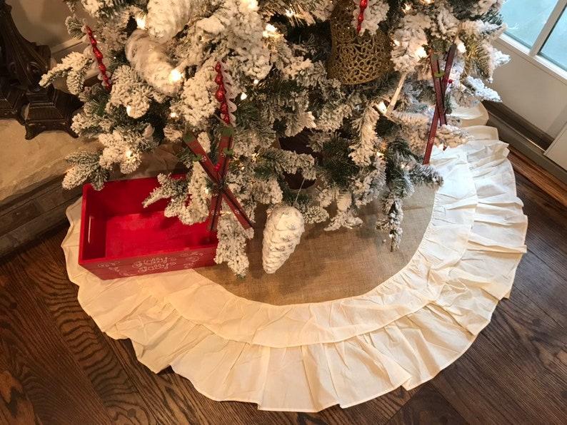 on sale fb6a7 baac0 Burlap Tree Skirt   Rustic Tree Skirt   Burlap Christmas Tree Skirt   Tree  Skirt   Christmas Clearance   Farmhouse Decor