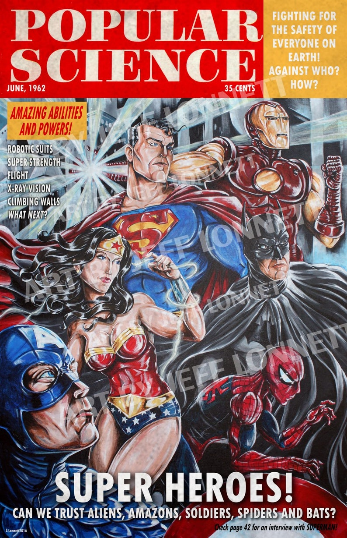 Marvel DC batman captain america popular Science retro 1960s magazine cover  satire 11x17