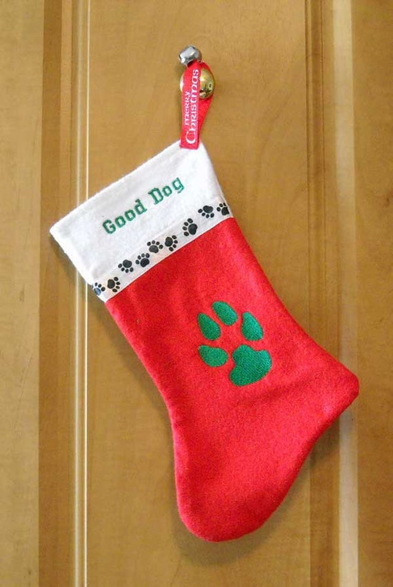 ffc6bbe0920 Christmas Stocking For Dog Paw Print Embroidered Christmas