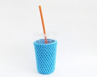 crochet iced coffee cozy. blue coffee cozy. Blue cup cozy. Cotton cup sleeve. Eco friendly cup jacket. Summer drink cozy.