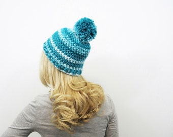 4c653213d42f3 Ombre Pom Pom Hat. Chunky Pompom Beanie. Aqua and White Beanie. Womens  Striped Hat. Womens Winter Hat. Ombre Crochet Hat. Teal PomPom Hat.