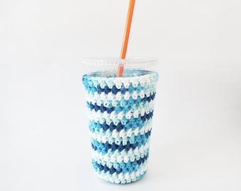 crochet coffee cozy. iced coffee cozy. gift for coffee lover. Blue ombre cup cozy. Cotton cup sleeve. Eco friendly cup jacket. cup cozy