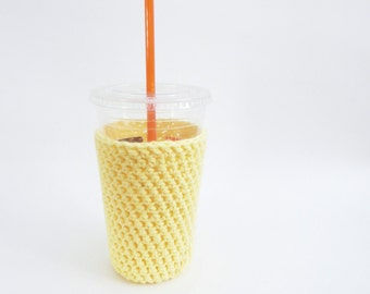 yellow cozy. iced coffee cozy. Crochet coffee cozy. yellow cup cozy. Cotton cup sleeve. Eco friendly cup jacket. Summer drink cozy.