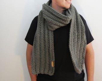 Gray Crochet Scarf. Men's Handmade Scarf. Dark Gray Scarf. Wool Acrylic Scarf. Men's accessories. winter scarves.  Unisex scarf men scarf