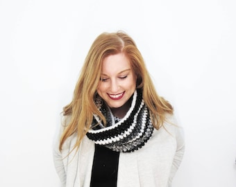 black and white scarf. striped scarf. womens scarf. crochet loop scarf. glitter winter scarf. sparkle accessories. knit infinity scarf.