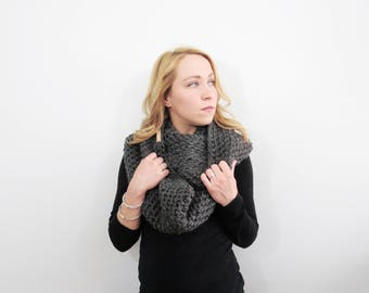 Crochet Infinity Scarf. Womens Eternity Scarf. Gray Scarf. Oversized Circle Scarf. Knit Infinity Scarf. Wool Scarf. Chunky Crochet Scarf.