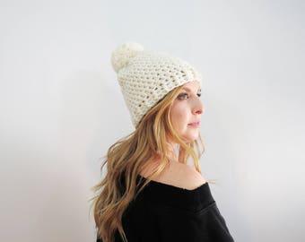 Cream Pom Pom Hat. Chunky Pom Pom Beanie. White Beanie. Womens Pom Pom Hat. Womens Winter Hat. Ivory Crochet Hat. Crochet Beanie Hat.