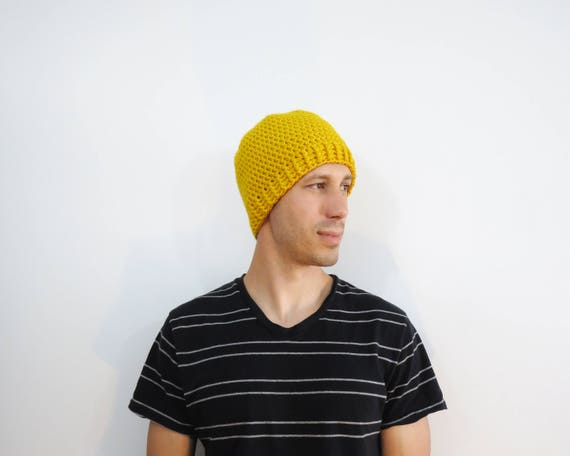 Yellow Crochet Beanie. Mens Hat. Crochet Fitted Hat. Knit  a3be7ea6016
