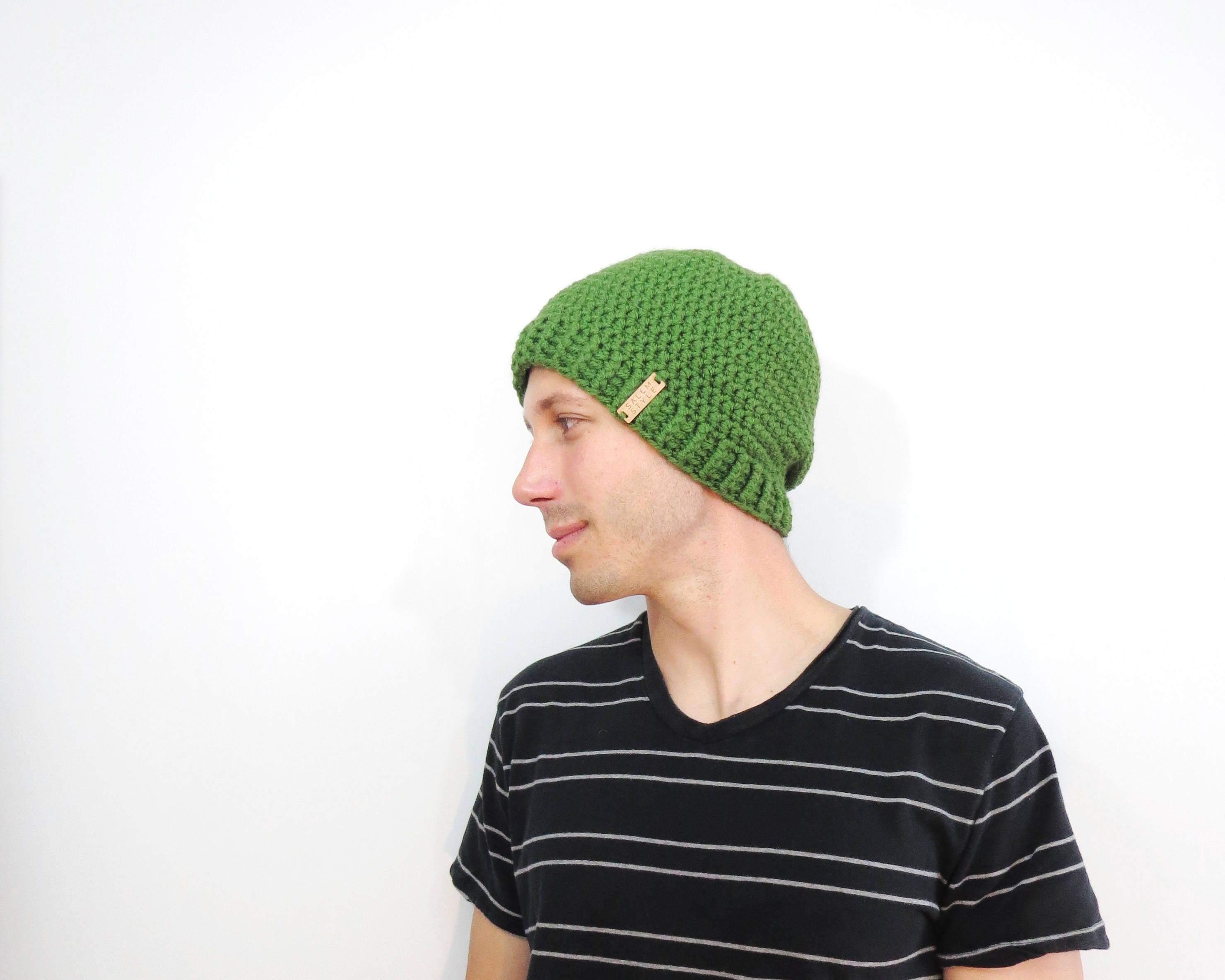 71143cca77c16 Green warm mens beanie. knit hat for men. green knitted hats.