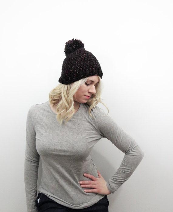 Deep Jewels Hat. Black and Pink Pom Pom Hat. Chunky Pom Pom  c08b8587195