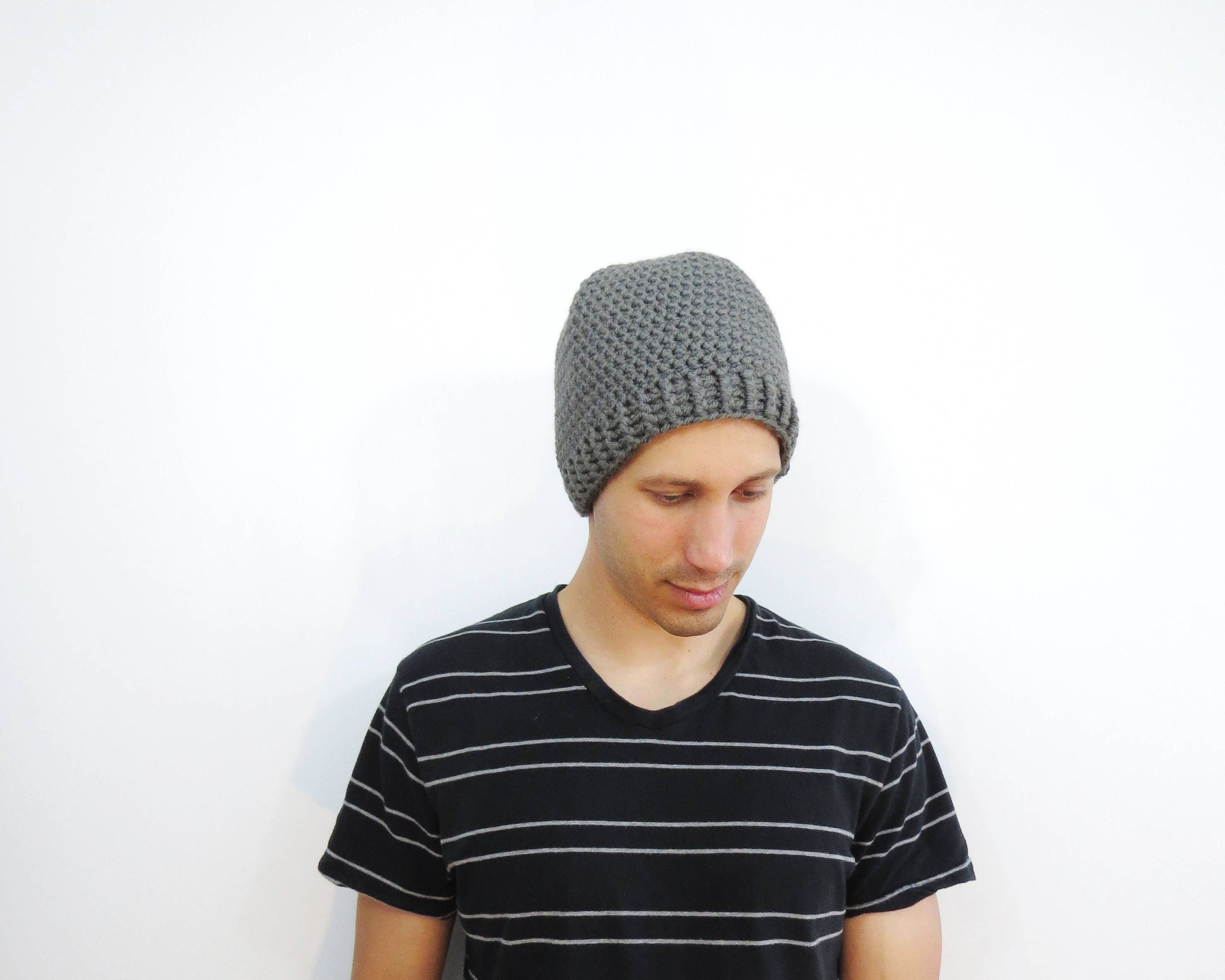 Mens Crochet Hat. Mens Gray Beanie. Fitted Beanie Hat. Knit  486d472ff9e