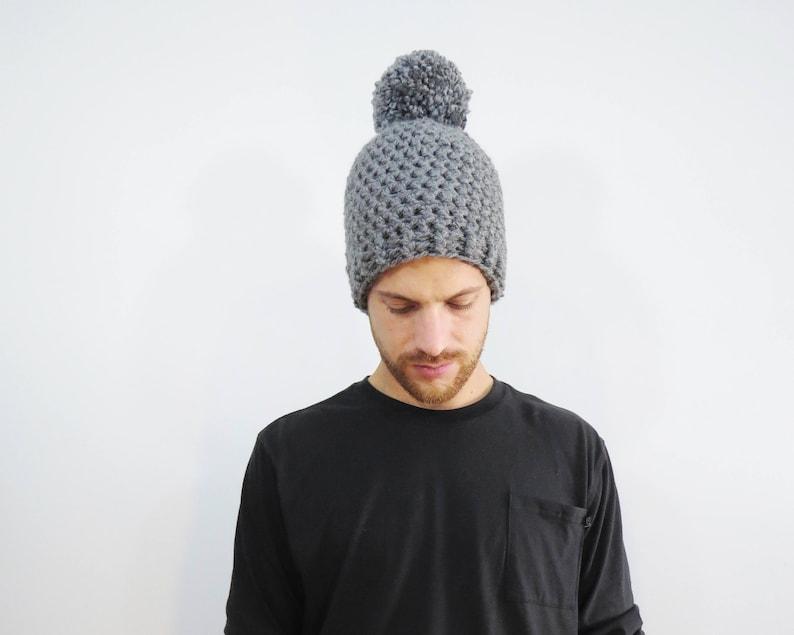 b575e586b Mens Gray Pom Pom Hat. Chunky Pom Pom Beanie. Gray Beanie. Mens Pom Pom  Hat. Mens Winter Hat. Gray Crochet Hat. Crochet Beanie Hat.