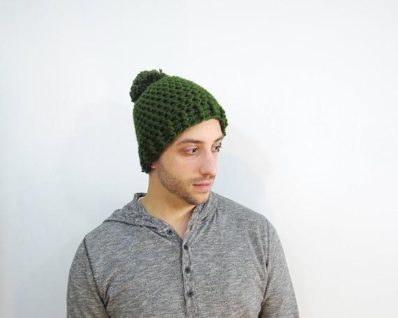 Green Pom Pom Hat. Chunky Pom Pom Beanie. Olive Beanie. Mens  82d33006d