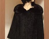 C-67 Vintage Black Swakara Mink collar fur coat jacket