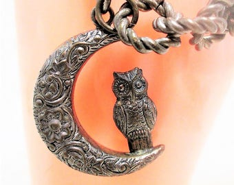 Dark Silver Owl and Crescent Moon Link Bracelet Vintage Jewelry Gift