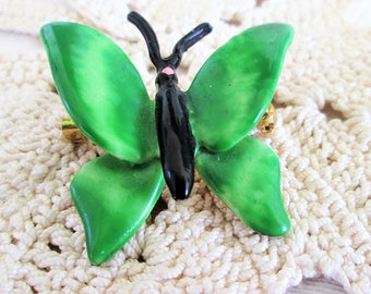 Original by Robert Green Butterfly Brooch Vintage Enamel Insect Figural Spring Jewelry Designer Signed Gift