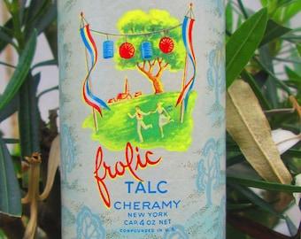 Vintage Cheramy Frolic Talc NY USA  1920's Powder Fragrance 90%  Contents Mother's Day Birthday