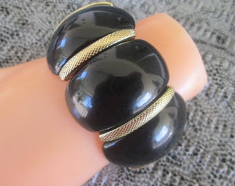 Black Lucite Stretch Bracelet Mid Century Wide Bangle Jewelry Gift Mother's Day Birthday