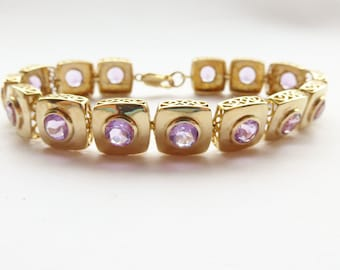 """Stunning Heavy 9ct Yellow Gold & Purple Amethyst Bracelet Large  8"""" (can be made smaller)"""