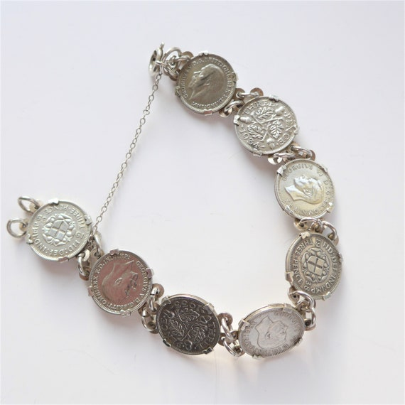 Vintage silver three pence coin earrings