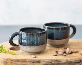 f284aaf5d73 Black Pottery Espresso cups Set - 2 stoneware Chic Elegant espresso cups