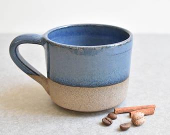 READY TO SHIP!  Blue Pottery Mug, Blue Ceramic Mug, Unique pottery Tea Cup, Coffee Lovers Gift, Ceramic Tea Mug, Handmade Coffee Mug