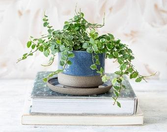 Blue Ceramic Planter Pot, Flower Pot with Saucer, Pottery Pot, Housewarming Gift, Home Decor Planter, Succulent Planter Pots, Cactus Pot