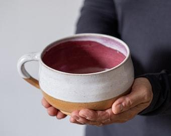 Two 20.5 Oz Ounces Red Ceramic Mugs, 600 ml XL Coffee Mug, Pottery Soup Mug