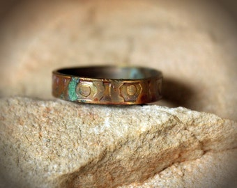 Aged Etched Copper Ring