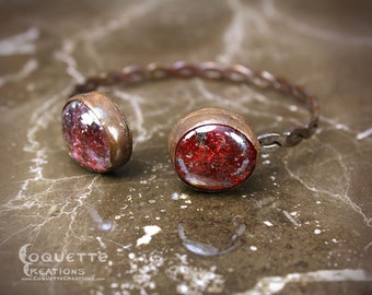 Red Glass Aged  Copper Bracelet