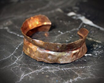 Aged Hammered Copper Cuff Bracelet