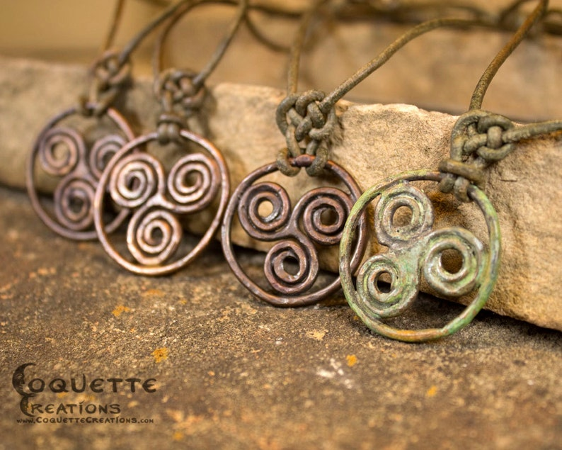 365e834dbe1a7 Forged Copper Viking Celtic Triskele Triple Spiral Necklace Pendant