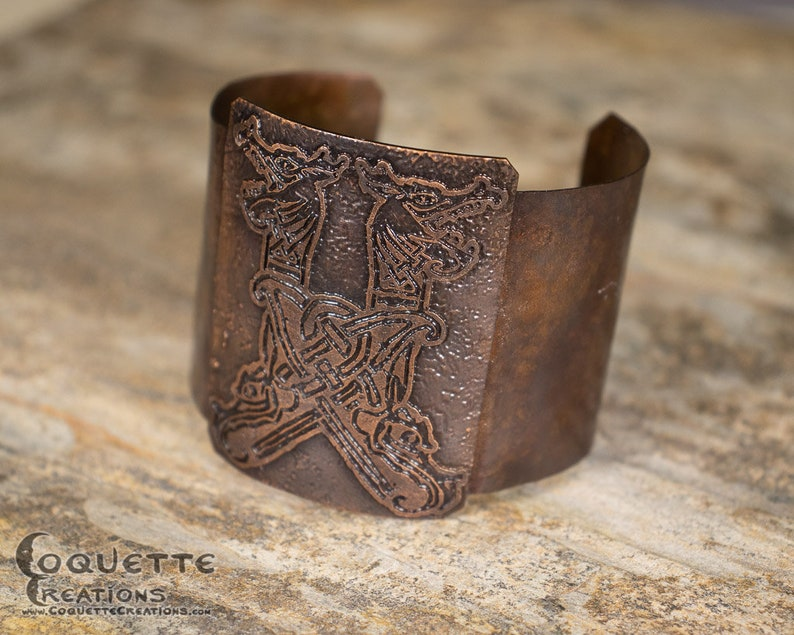 c0fb779b29924 Hammered Etched Aged Dragon Celtic Copper Cuff Bracelet