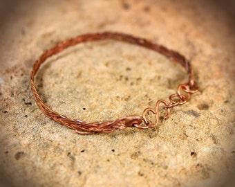 Aged Woven Copper  Bracelet