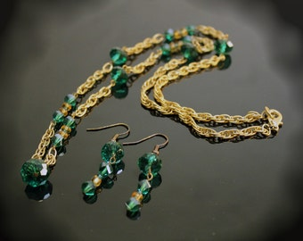 Green & Gold Chain Necklace with Earrings