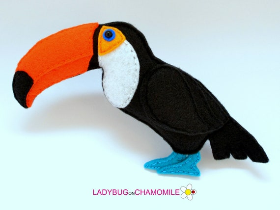 Cute Toco Toucan Birds Action Animal Figure Handmade Painted Toy Kid Gift 10 cm