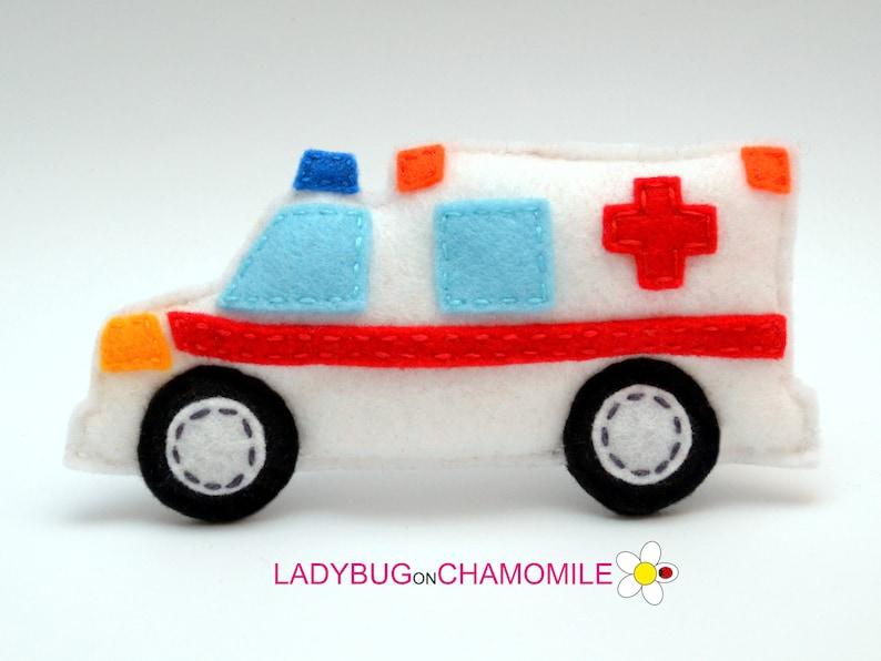 27779e208 Felt AMBULANCE stuffed felt Ambulance car magnet or   Etsy