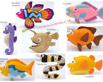 SPLASH and BUBBLES TV Show Fishes felt Toys, Ornaments, Magnets.