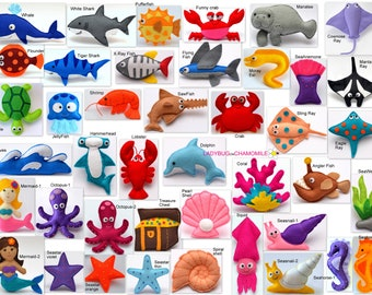 SEA and OCEAN CREATURES felt magnets, ornaments, toys - Price per 1 item - Octopus,Shark,Ray,Crab,Pearl,Dolphin