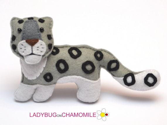Felt Snow Leopard Stuffed Felt Snow Leopard Magnet Or Etsy