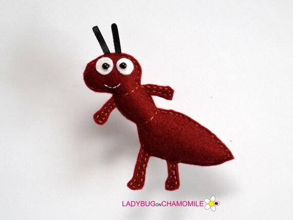 ant peluche feutre ant aimant ou ornement jouet de fourmis etsy. Black Bedroom Furniture Sets. Home Design Ideas