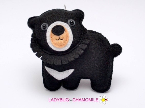Felt Asian Black Bear Stuffed Felt Bear Magnet Or Ornament Etsy