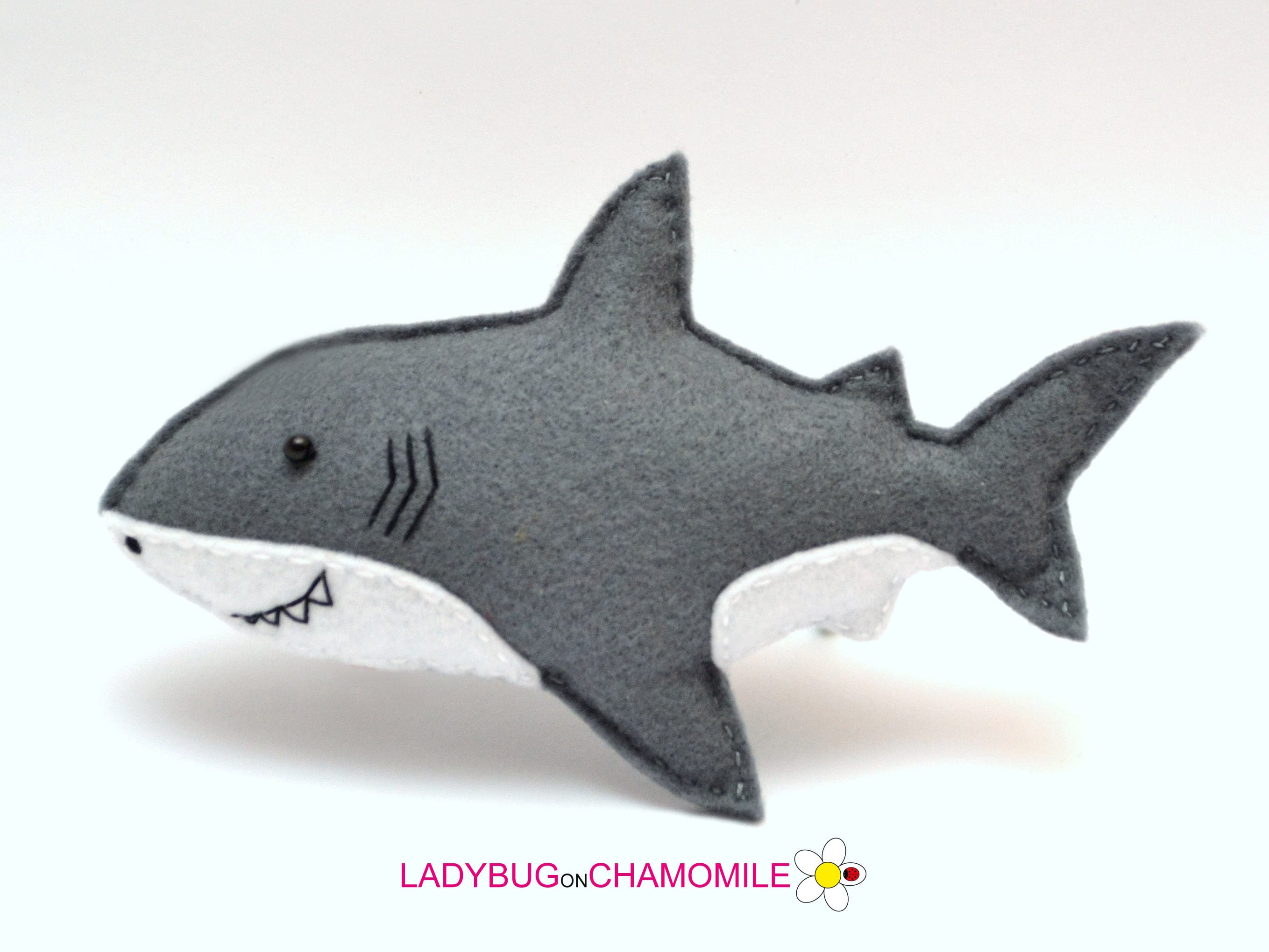 Felt Great White Shark Stuffed Felt Shark Magnet Or Ornament Etsy