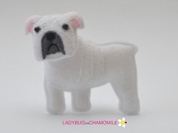Felt White English Bulldog Stuffed Felt British Bulldog Etsy