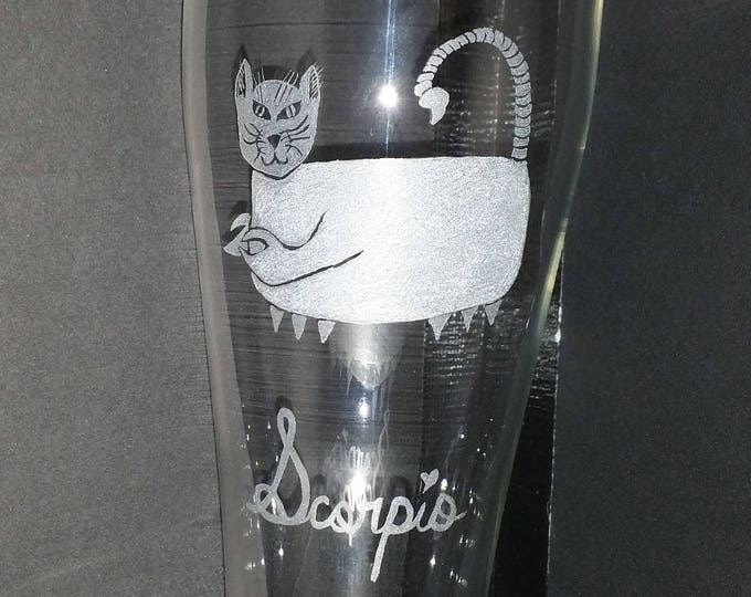 Scorpio the Scorpion from our Kitty Kat Zodiac series on a 23 oz Pilsner Glass