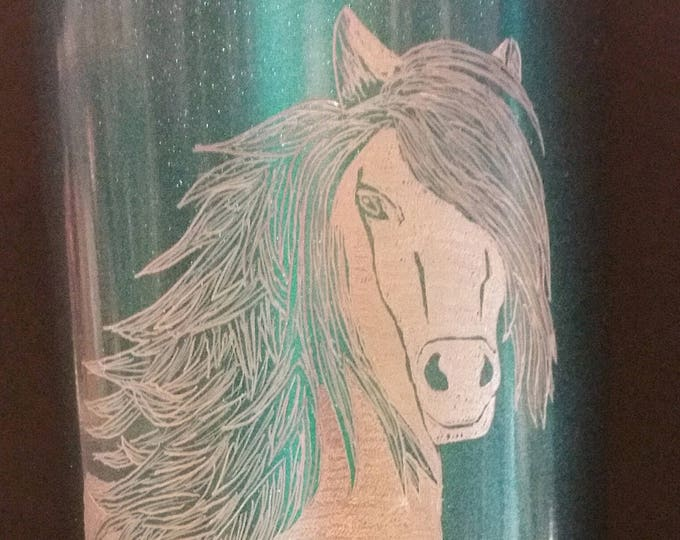 Hand Engraved Horse Head Image on 20 oz metal tumbler
