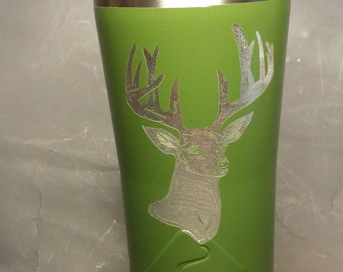Hand Engraved Deer Hunter Image on 20 oz metal tumbler